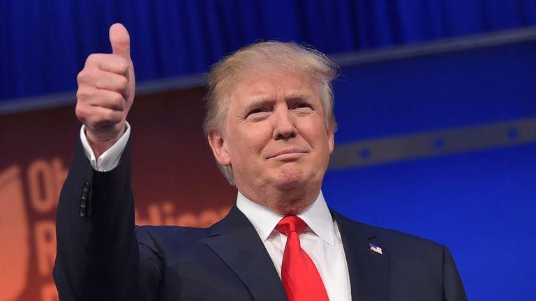 Donald Trump gives a thumbs up