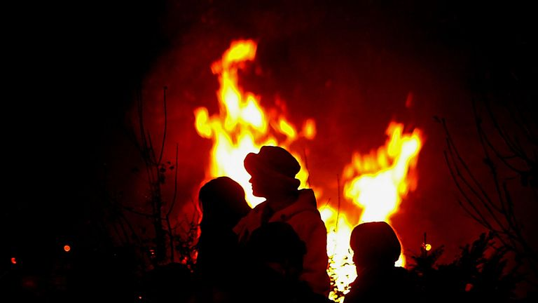 Revellers in Lewes celebrate Guy Fawkes' night