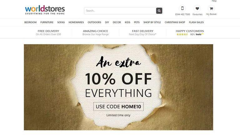 WorldStores website