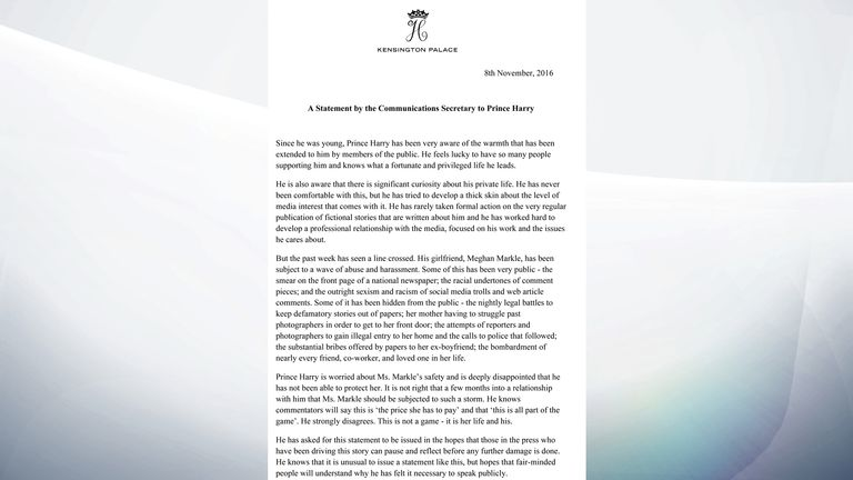 A Statement by the Communications Secretary to Prince Harry