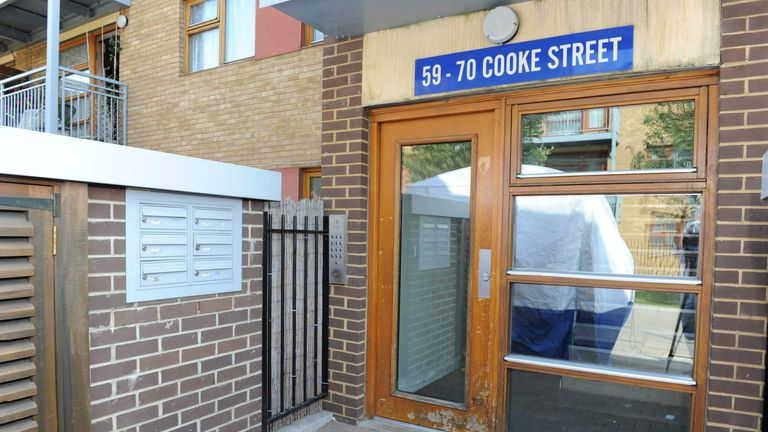 The entrance to Stephen Port's flat in Barking, east London