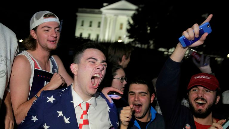 Supporters of U.S. Republican presidential candidate Donald Trump rally in front of the White House in Washington