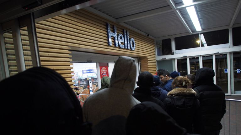 Customers queuing on Black Friday at a Tesco Extra store in Ponders End, Enfield, north London, Black Friday 25 November 2016