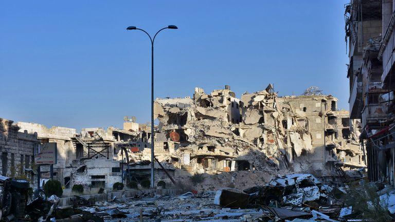 The destroyed Bustan al Basha neighbourhood in Aleppo
