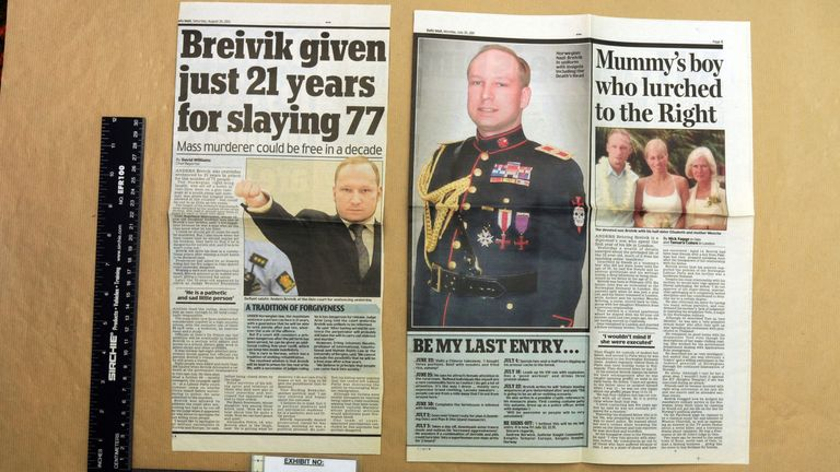A newspaper cutting about Norwegian mass murderer Anders Breivik found in Thomas Mair's home