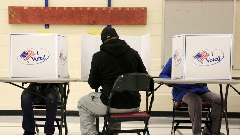 People vote in the U.S. presidential election in Dumfries, Virginia