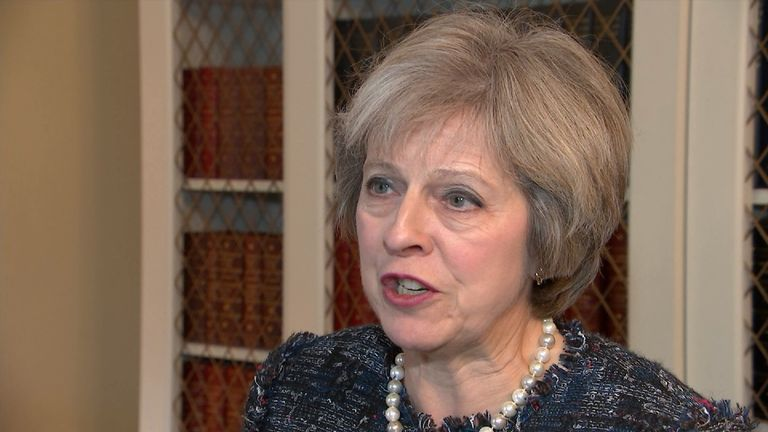 Prime Minister Theresa May reacting to the news of Donald Trump's electoral victory