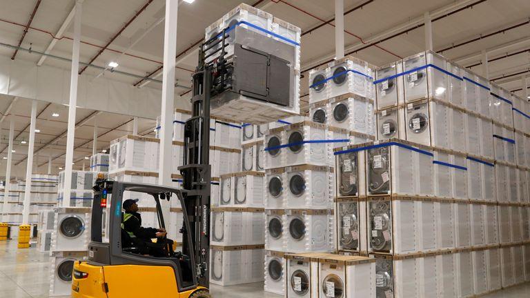 Washing machines at a John Lewis warehouse in Milton Keynes