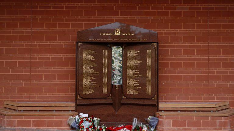 The Hillsborough Memorial at Liverpool's Anfield stadium