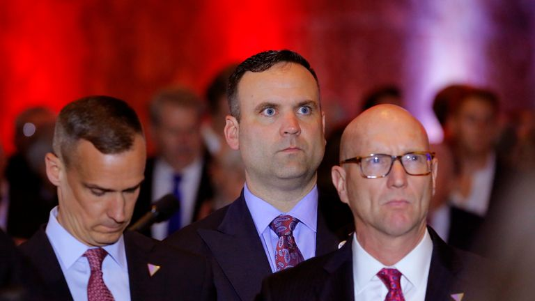 RTX2CPIR4 May. 2016New York, UNITED STATESRepublican U.S. presidential candidate Donald Trump's campaign staff members, including (L-R) campaign manager Corey Lewandowski, senior advisor Dan Scavino and National Political Director Michael Glassner, watch on television as rival candidate Senator Ted Cruz drops out of the race for the 2016 Republican presidential nomination following the results of the Indiana state primary, at Trump Tower in Manhattan, New York, U.S., May 3, 2016. REUTERS/Lucas J