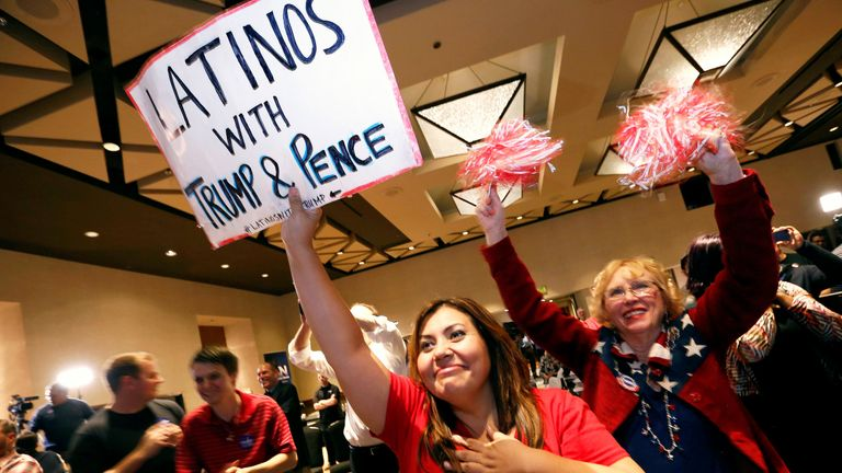 Trump supporters in Arizona cheer as the president-elect gives his acceptance speech