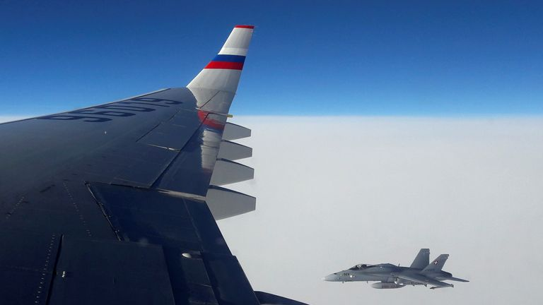 One of the Swiss jets in a picture taken from the Russian plane
