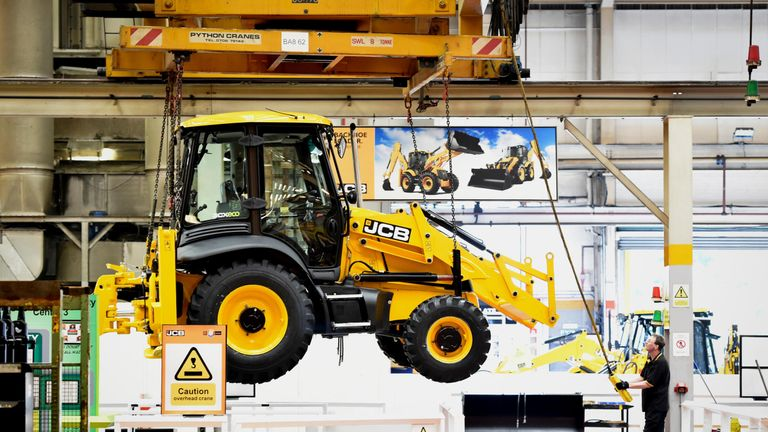 A backhoe loader on the production line. Pic: JCB