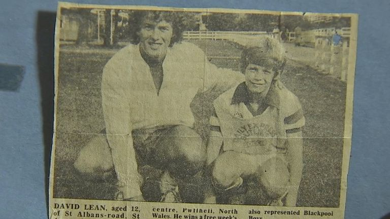 A newspaper cutting of David Lean with Barry Bennell