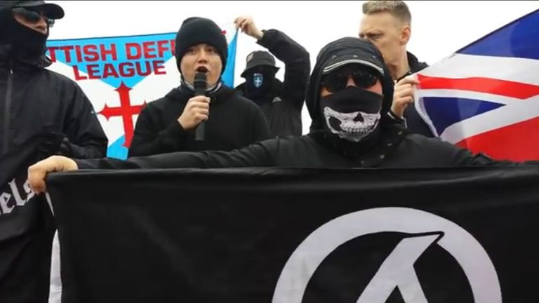Jack Renshaw speaking at a National Action demonstration in Blackpool