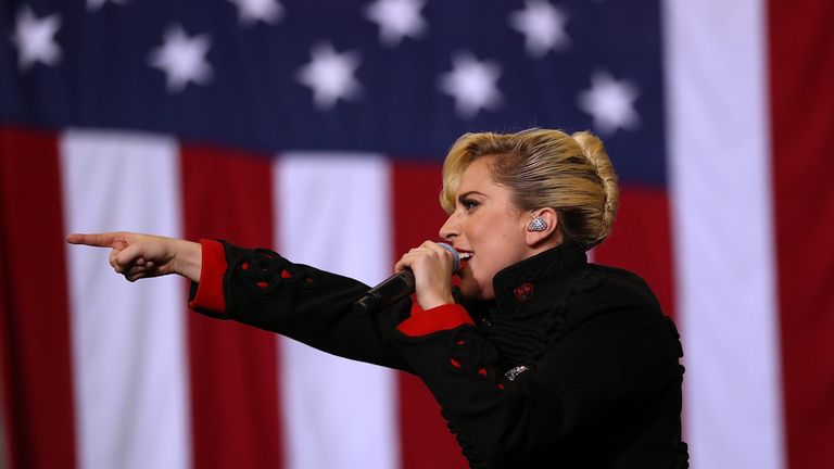 Gaga addressed a youthful crowd at a midnight rally just hours before the first polls open