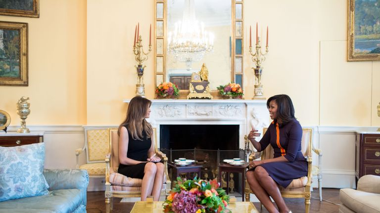 First Lady Michelle Obama meets Melania Trump. Pic: White House Flickr