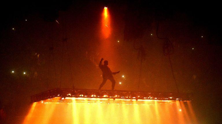 Kanye West performing in California