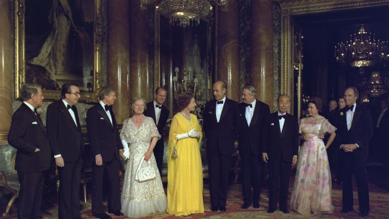 Leaders from Canada France the Federal Republic of Germany Italy Japan and the United Kingdom with the British Royal family during the Economic Summit of May 7-8 1977. 1977
