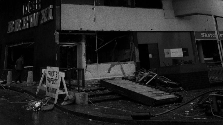 The outside of the Mulberry Bush pub in Birmingham after a bomb exploded in 1974