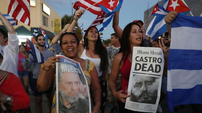 Exiled Cuban-Americans in Miami celebrate the death of former president Fidel Castro