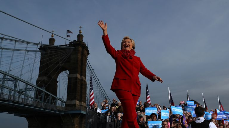 Democratic presidential nominee former Secretary of State Hillary Clinton greets supporters during a campaign rally at Smale Riverfront Park in Cincinnati, Ohio