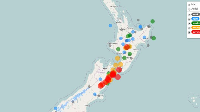 A Geonet map showing the location of the quakes