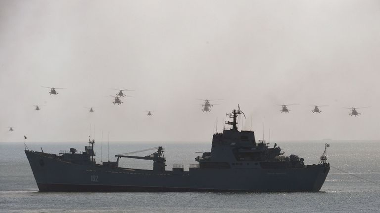 Russian naval ships and helicopters during an exercise off Crimea in September