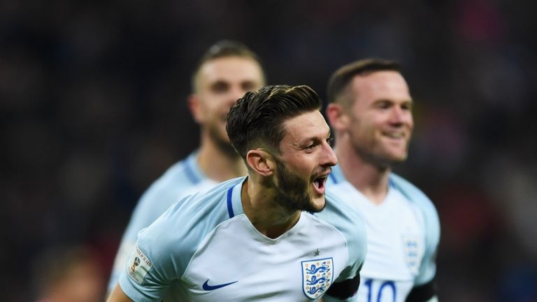 Adam Lallana goal celeb, England v Scotland, World Cup qualifying