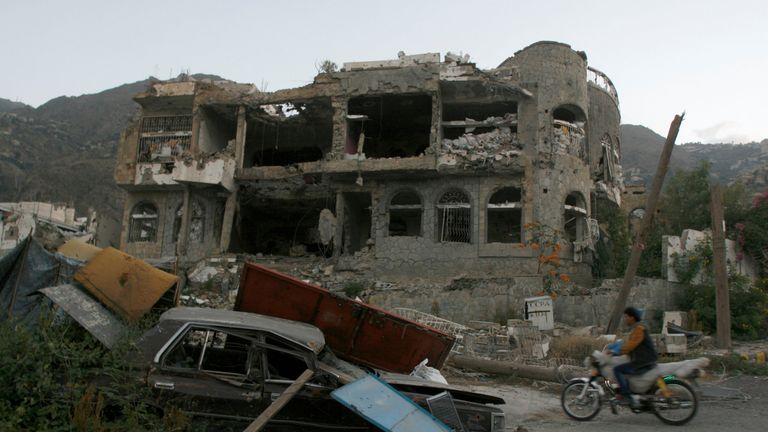 A house destroyed during battles between Houthi rebels and pro-government fighters in Taiz