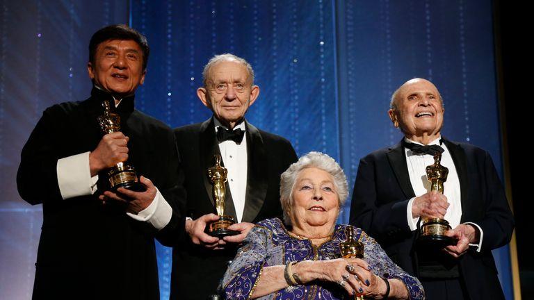 Honorary Award winners Jackie Chan, Frederick Wiseman, Anne V. Coates and Lynn Stalmaster