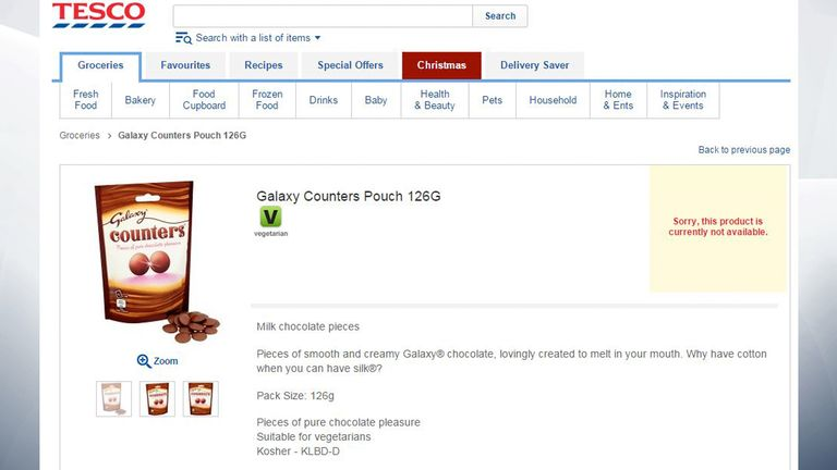 Tesco's website lists Galaxy Counters as 'not available'