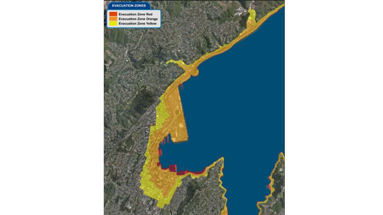 A map of the evacuation zones from Wellington City to Ngauranga. Pic: Wellington Region Emergency Management
