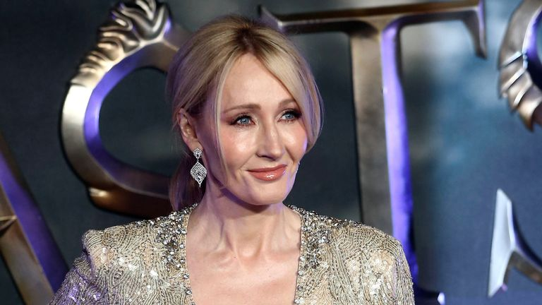 """Writer J.K. Rowling poses as she arrives for the European premiere of the film """"Fantastic Beasts and Where to Find Them"""" at Cineworld Imax, Leicester Square"""