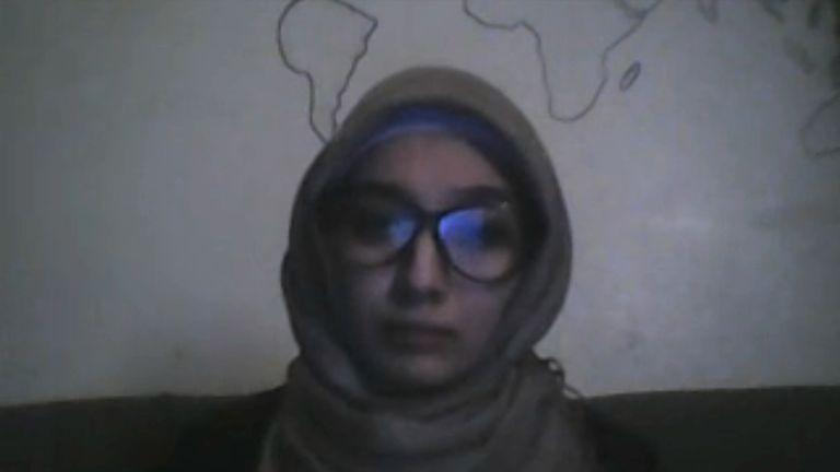 Aleppo resident Lina Al Shamy talks to Sky News via Skype