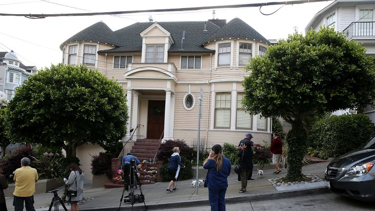 Well wishers and members of the media gather in front of the home where actor and comedian Robin Williams filmed the movie Mrs. Doubtfire on August 12, 2014 in San Francisco, California. Academy Award winning actor and comedian Robin Williams was found dead in his Marin County home on Monday of an apparent suicide. He was 63 years old