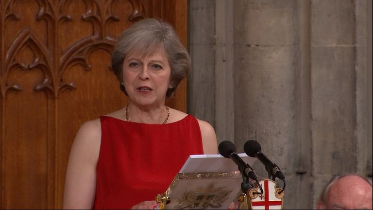 Theresa May giving her address at the Lord Mayor's Banquet in London