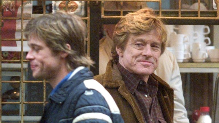 Redford and actor Brad Pitt shooting the 2001 film Spy Game