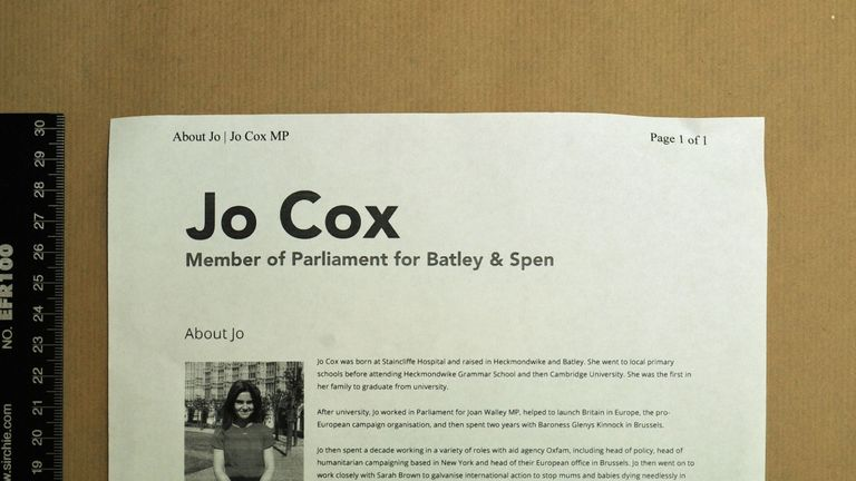 Part of a dossier on Jo Cox found in the home of Thomas Mair
