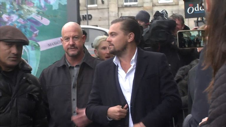 DiCaprio arrives in Edinburgh to visit the charity sandwich shop