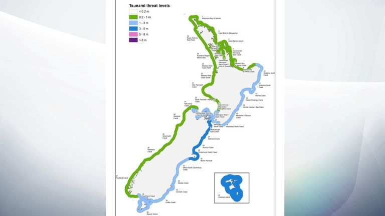 The civil defence's map of expected wave heights around the New Zealand coastline