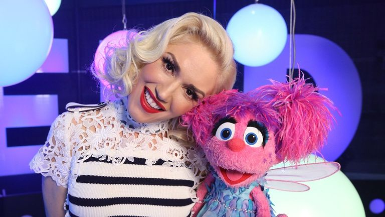 Gwen Stefani and Abby Caddaby at the set of Sesame Street