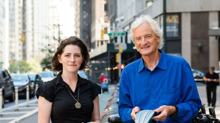 Inventor and award winner Isis Shiffer with prize giver James Dyson