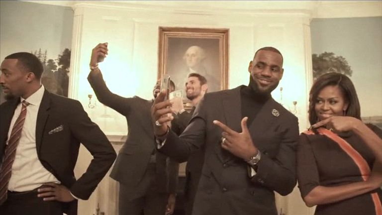 Michelle Obama joins LeBron James and the Cleveland Cavaliers in the Mannequin challenge