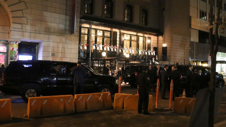 The motorcade of U.S. president-elect Donald Trump is pictured outside a restaurant in the Manhattan borough of New York, New York, U.S. November 15, 2016. REUTERS/Carlo Allegri