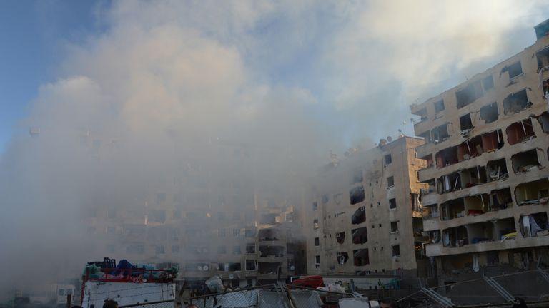 Smoke rises from a street following a blast in Diyarbakir, Turkey