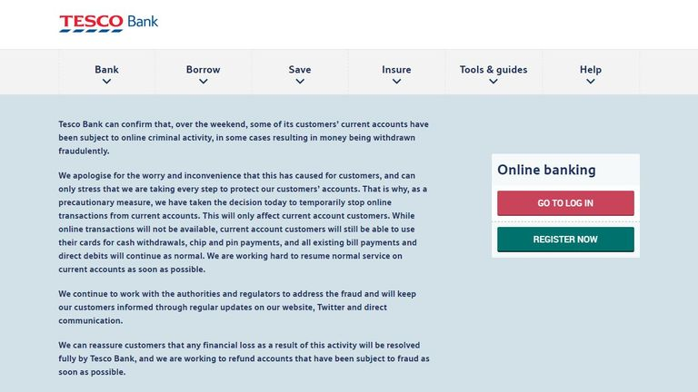 A note on Tesco Bank's website after a hacking attack