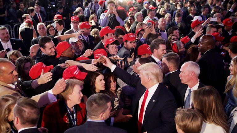 U.S. President-elect Donald Trump addresses supporters