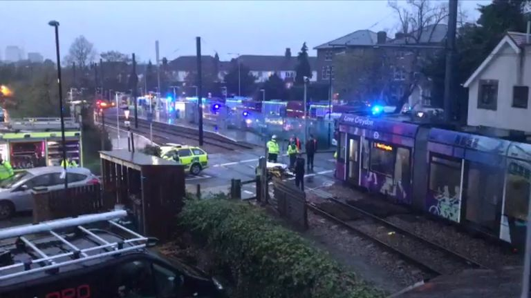 The scene showing a tram stopped at Sandilands station. Pic @HannahCollier1