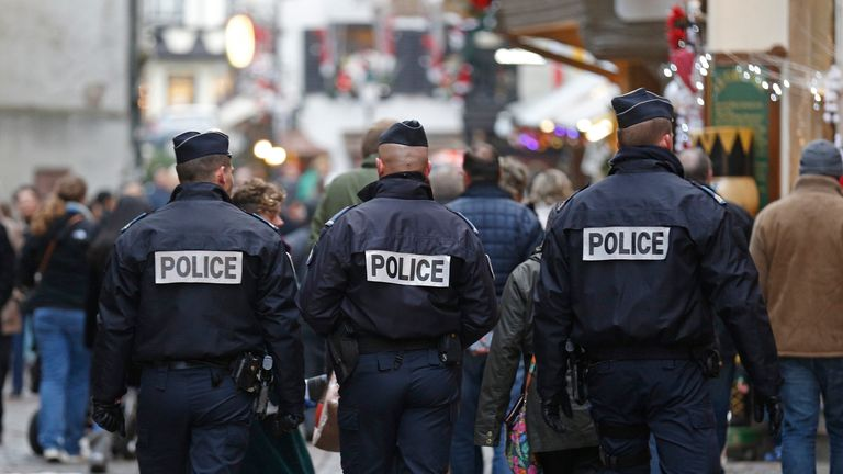 French police officers on patrol in Strasbourg